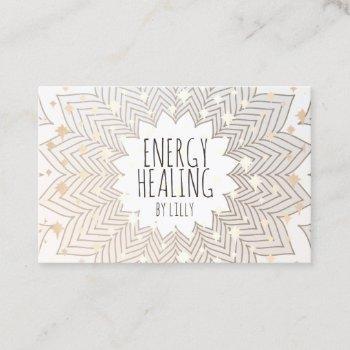 artistic lotus flower mandala holistic healer business card