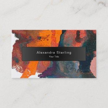 artistic orange  abstract watercolor art business card