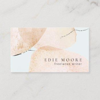 artistic tan watercolor abstract painted art business card