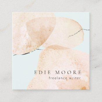 artistic tan watercolor abstract painted art square business card
