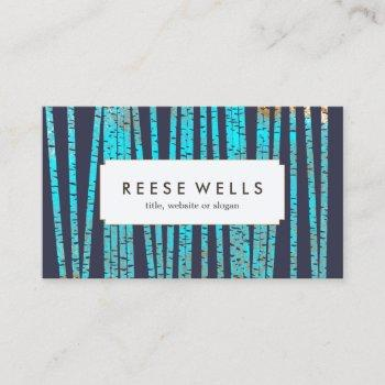 artistic turquoise bamboo pattern navy business card