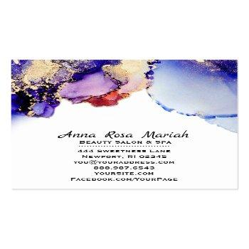 Small *~*  Artsy Abstract Lavender Gold Gilded Blue Bold Square Business Card Back View