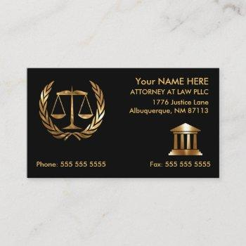 attorney at law black and gold business card