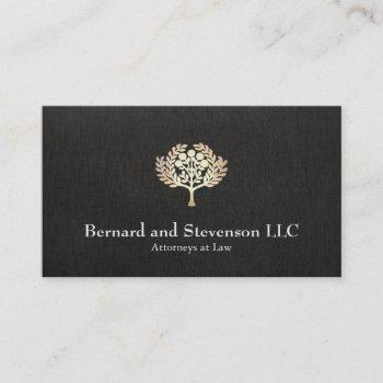attorney at law faux gold leaf and black linen business card