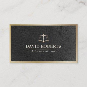 attorney at law gold framed black leather lawyer business card