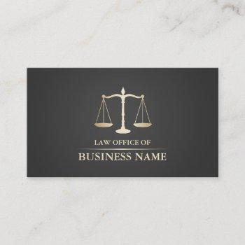 attorney at law gold scale dark gray lawyer business card