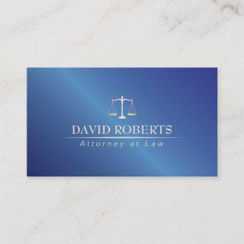 attorney at law metal blue lawyer business card