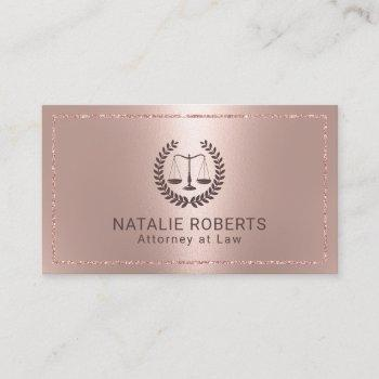 attorney at law modern rose gold frame lawyer business card