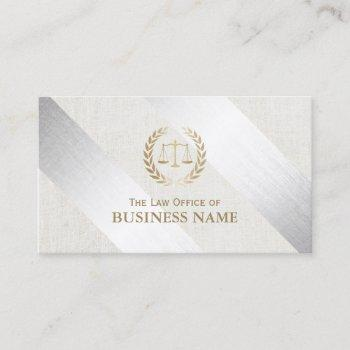 attorney at law modern silver & gold lawyer business card