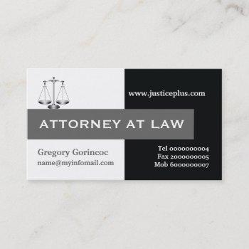 attorney at law scale of justice grey, black business card