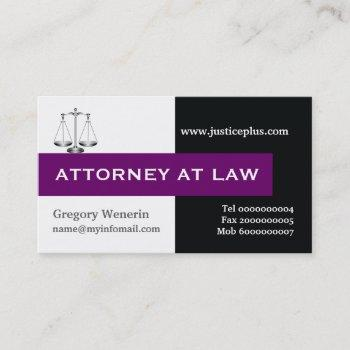 attorney at law scale of justice purple, black business card