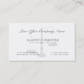 attorney at law scale watermark business card