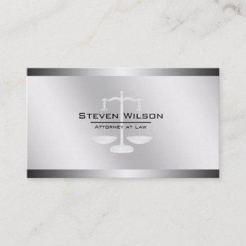 attorney at law white and silver steel legal scale business card