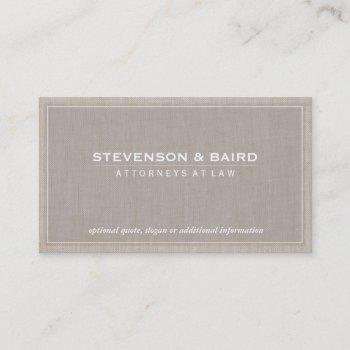 attorney beige linen elegant professional business card