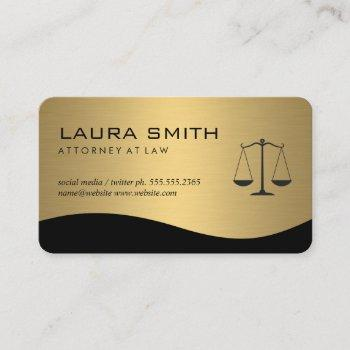attorney / gold metallic scales business card