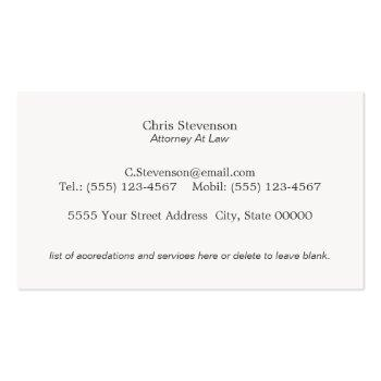 Small Attorney Justice Scale Traditional Vintage Style Business Card Back View