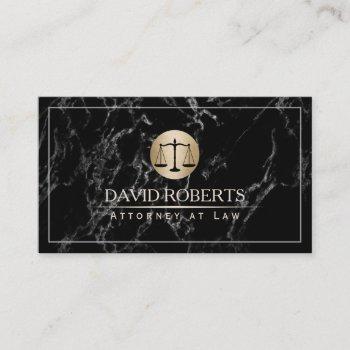 attorney lawyer simple framed elegant dark marble business card