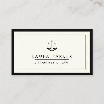 attorney legal lawyer black scale professional business card