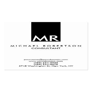 Small Attractive Monogram Black White Clear Business Card Front View