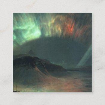 aurora borealis by frederic edwin church square business card
