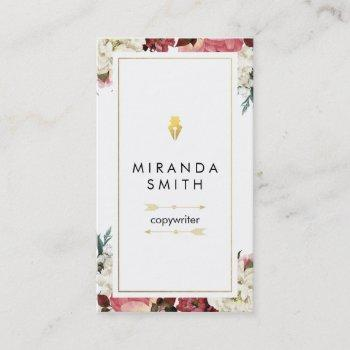 author writer business card - chic floral