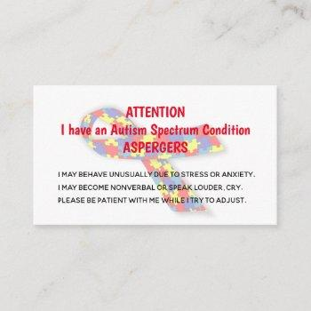 autism alert cards for organization/group