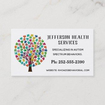 autism colorful jigsaw puzzle tree business card