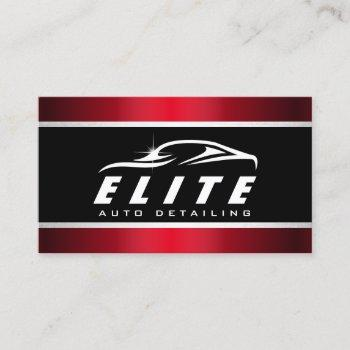 auto detailing auto spa modern black red car business card