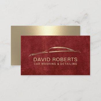 auto detailing automotive car repair red & gold business card