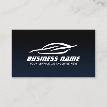 auto detailing automotive navy blue car repair business card