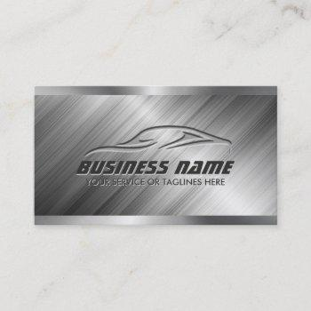 auto detailing car repair automotive modern metal business card