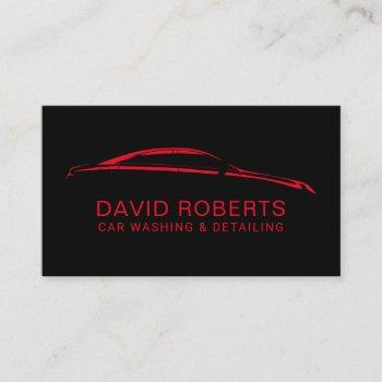 auto detailing car wash automotive black & red business card