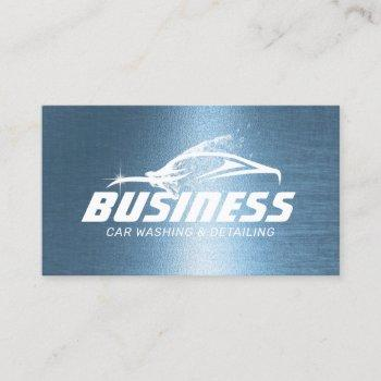 auto detailing car wash automotive royal blue business card
