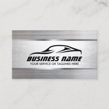 auto detailing modern metal texture automotive business card