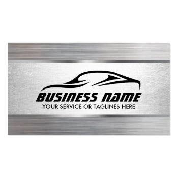 Small Auto Detailing Modern Metal Texture Automotive Business Card Front View