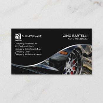 auto mechanic black sports car automotive business card