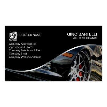 Small Auto Mechanic Black Sports Car Automotive Business Card Front View