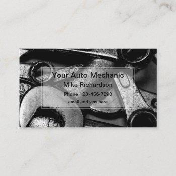 auto mechanic tools uniquely designed business card