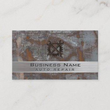 auto repair car dealer rusty metal automotive business card