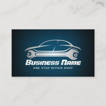 auto repair car & wrench blue automotive mechanic business card