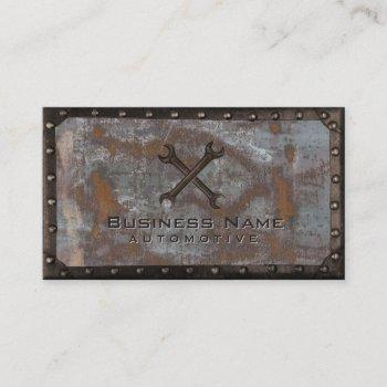 auto repair grunge rusty metal construction business card
