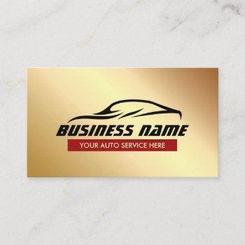 automotive auto detailing car repair modern gold business card