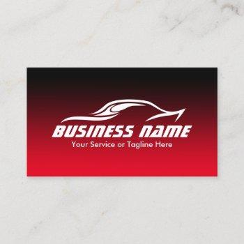 automotive auto repair cool black & red car business card