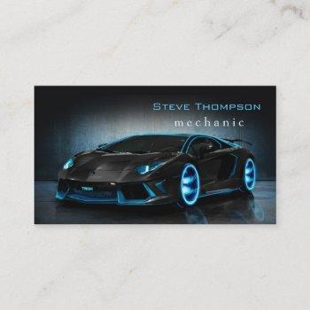 automotive black mechanic car fast speed business card