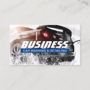 automotive car wash & auto detailing blue label business card