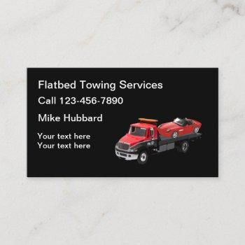automotive flatbed towing services business card