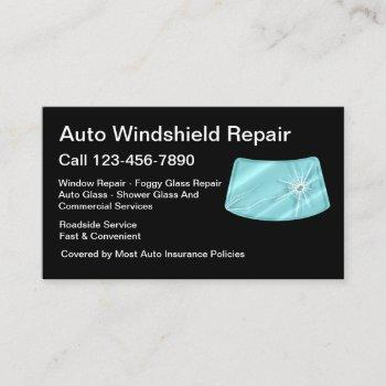 automotive glass repair services design business card