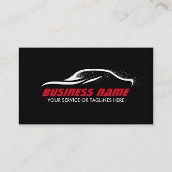 automotive professional black & red car auto business card
