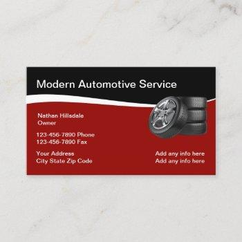 automotive theme with tires business card