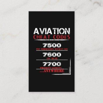 aviation cheat codes - funny tshirt for pilots business card